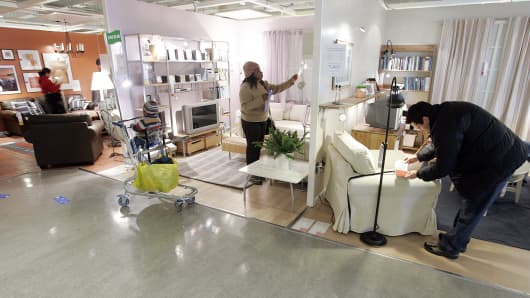 Shoppers look at merchandise at a Ikea store in Paramus, New Jersey.