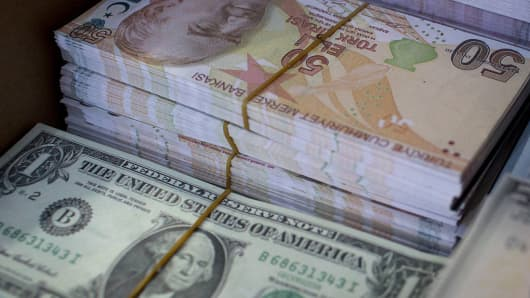 Fake Us Dollar And Turkish Lira Currency Often Used As A Novelty Gift Is Seen For
