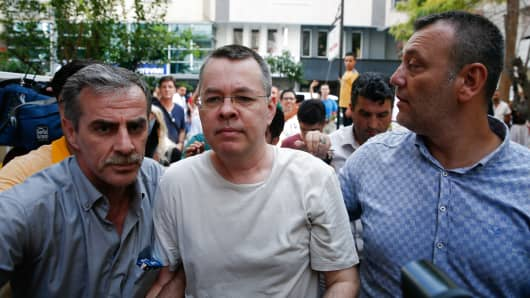 American Pastor Andrew Craig Brunson (C), who was charged with committing crimes, including spying for the PKK terror group and the Fetullah Terrorist Organization, in Izmir, Turkey on July 25, 2018.