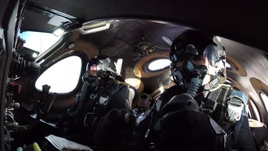 Inside the cockpit of Virgin Galactic's spaceship Unity during a test flight.