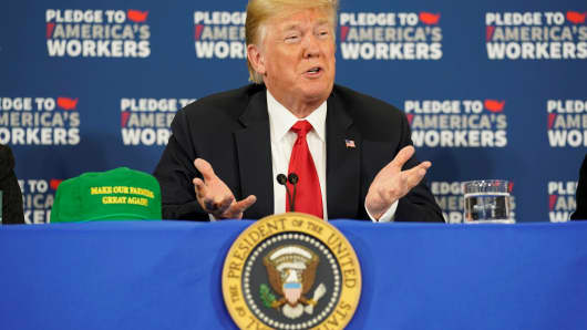 President Donald Trump participates in a roundtable discussion on workforce development at Northeast Iowa Community College in Peosta, Iowa, U.S., July 26, 2018.