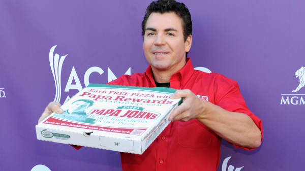 Papa Johns Pizza Founder John Schnatter arrives at the 47th Annual Academy Of Country Music Awards held at the MGM Grand Garden Arena on April 1, 2012 in Las Vegas.