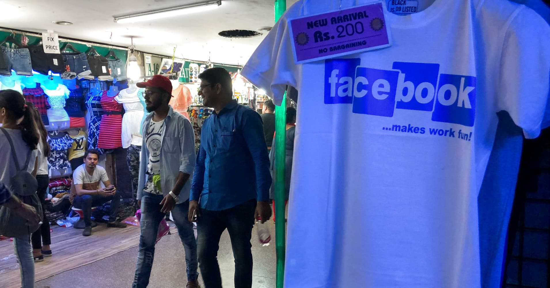 Imitation Facebook T-Shirts are displayed for sale inside a shop in New Delhi on March 28, 2018.