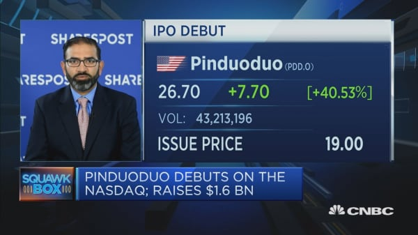 Pinduoduo's Nasdaq debut is 'truly historic'