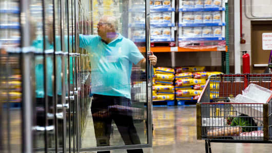 A customer shops for frozen food inside a Costco Wholesale Corp. store in Miami, Florida.