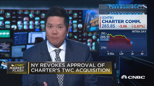 Charter Communication shares fall after NY votes to revoke the TWC acquisition