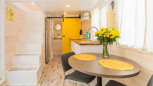 Yellow Lifeguard house interior
