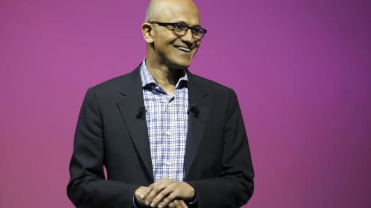 Microsoft's CEO Satya Nadella speaks to participants during the Viva Technologie show at Parc des Expositions Porte de Versailles on May 24, 2018, in Paris.