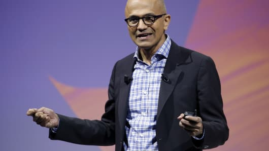 Microsoft CEO Satya Nadella speaks to participants during the Viva Technologie show at Parc des Expositions Porte de Versailles on May 24, 2018, in Paris