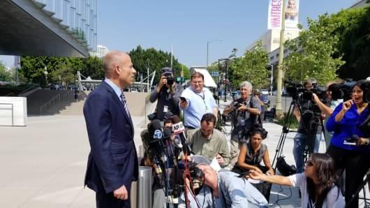 Michael Avenatti, the attorney for Stormy Daniels, talks to reporters outside the federal courthouse in Los Angeles on July 27, 2018.