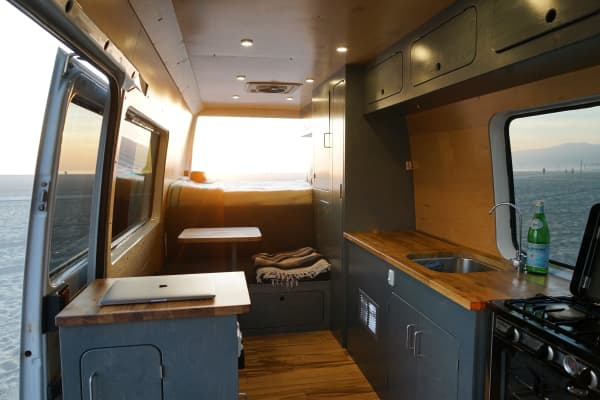 The interior of Jack Mann's 2006 Mercedes Sprinter, designed by VanCraft