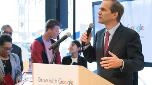 "Kent Walker speaks at a ""Grow with Google"" launch event in Cleveland."