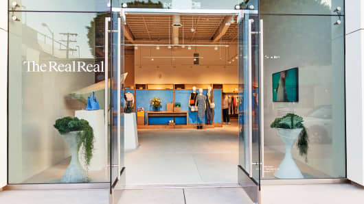 The outside of TheRealReal's new store in Los Angeles on Melrose Ave.