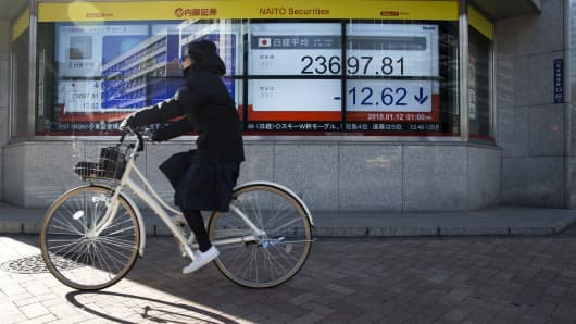 A cyclist rides past an electronic stock board showing a figure of the Nikkei Stock Average outside a securities firm in Tokyo, Japan, on Friday, Jan. 12, 2018.