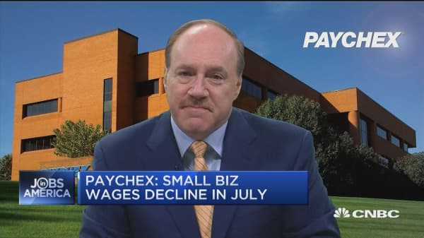 Paychex: Small business job index, wages decline in July