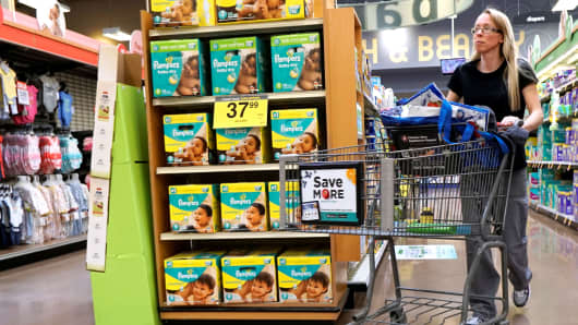 A display of Procter & Gamble's Pampers diapers are seen on sale in Denver.