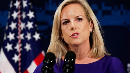 Homeland Security Secretary Kirstjen Nielsen speaks to attendees during the Department of Homeland Security's Cybersecurity Summit in Manhattan, New York, July 31, 2018.