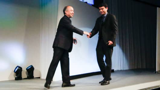 SoftBank president Masayoshi Son and Cohesity co-founder and CEO Mohit Aron
