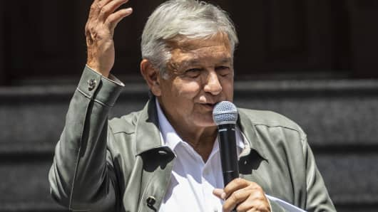 Mexico's President-elect Andres Manuel Lopez Obrador speaks during a press conference at his party's headquarters in Mexico City on July 23, 2018.