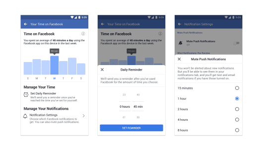 Facebook is introducing new app settings to help users control how much they use it.