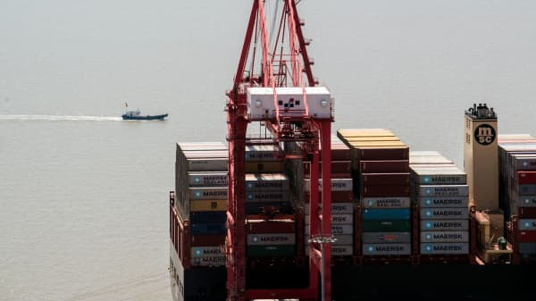 A US cargo ship seen at the Yangshan Deep-Water Port, an automated cargo wharf, in Shanghai on Apr. 9, 2018.