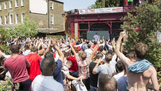 Live screening of England's 6 1 win against Panama at the popular South London bar and music venue, the Hootananny, during Group Gs match of the 2018 Football World Cup on the 24th June 2018 in Brixton in the United Kingdom