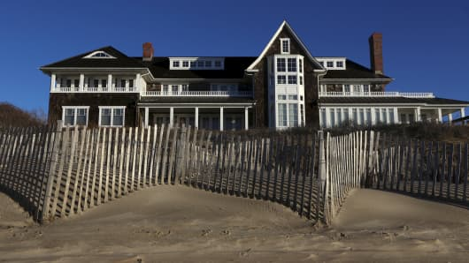 A beachfront residence is seen in East Hampton, New York.