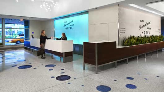 Miami International Airport hotel lobby.