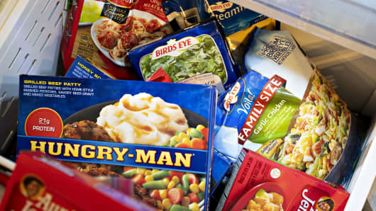In the Pinnacle Foods deal, Conagra gained brands such as Birds Eye, Hungry-Man, Aunt Jemima Frozen Breakfast, and Armour brand frozen foods.