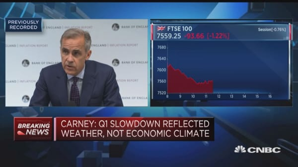Global growth still expected to boost UK activity, Carney says