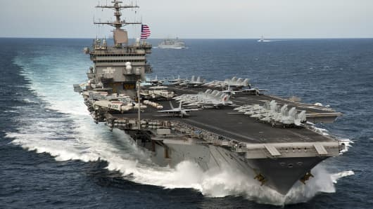 The aircraft carrier USS Enterprise is underway with the Enterprise Carrier Strike Group in the Atlantic Ocean.
