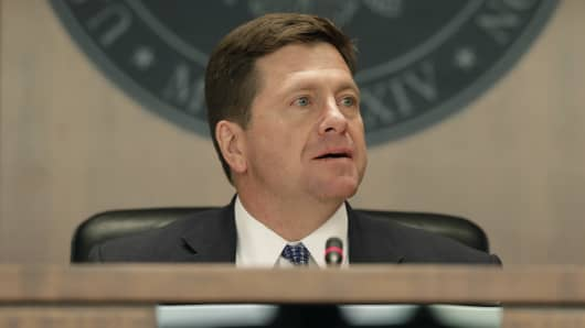 Jay Clayton, chairman of U.S. Securities and Exchange Commission (SEC), speaks during an SEC open meeting in Washington, D.C., U.S., on Wednesday, April 18, 2018.