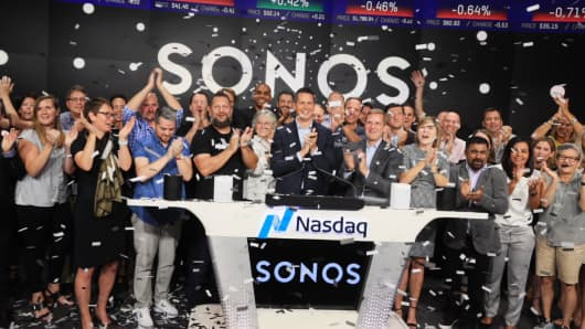 Sonos celebrates its IPO at the Nasdaq, August 2, 2018.