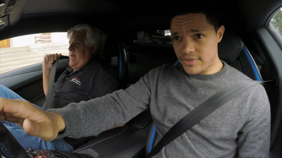 Trevor Noah and Jay Leno take a ride in a $520,000 Lamborghini with a top speed of 217 mph