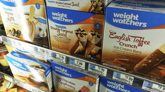 Weight Watchers brand ice cream in a supermarket freezer in New York.