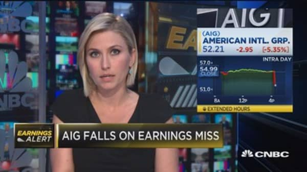 AIG down on earnings miss