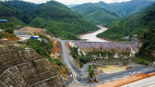 The Nam Tha 1 hydroelectric dam construction site in Bokeo Province, Laos.