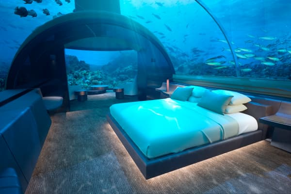 Underwater bedroom at Muraka