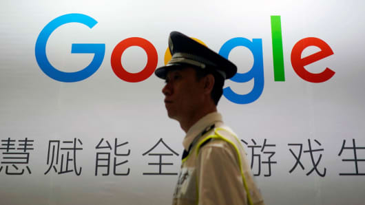 A Google sign is seen during the China Digital Entertainment Expo and Conference  in Shanghai, China August 3, 2018.
