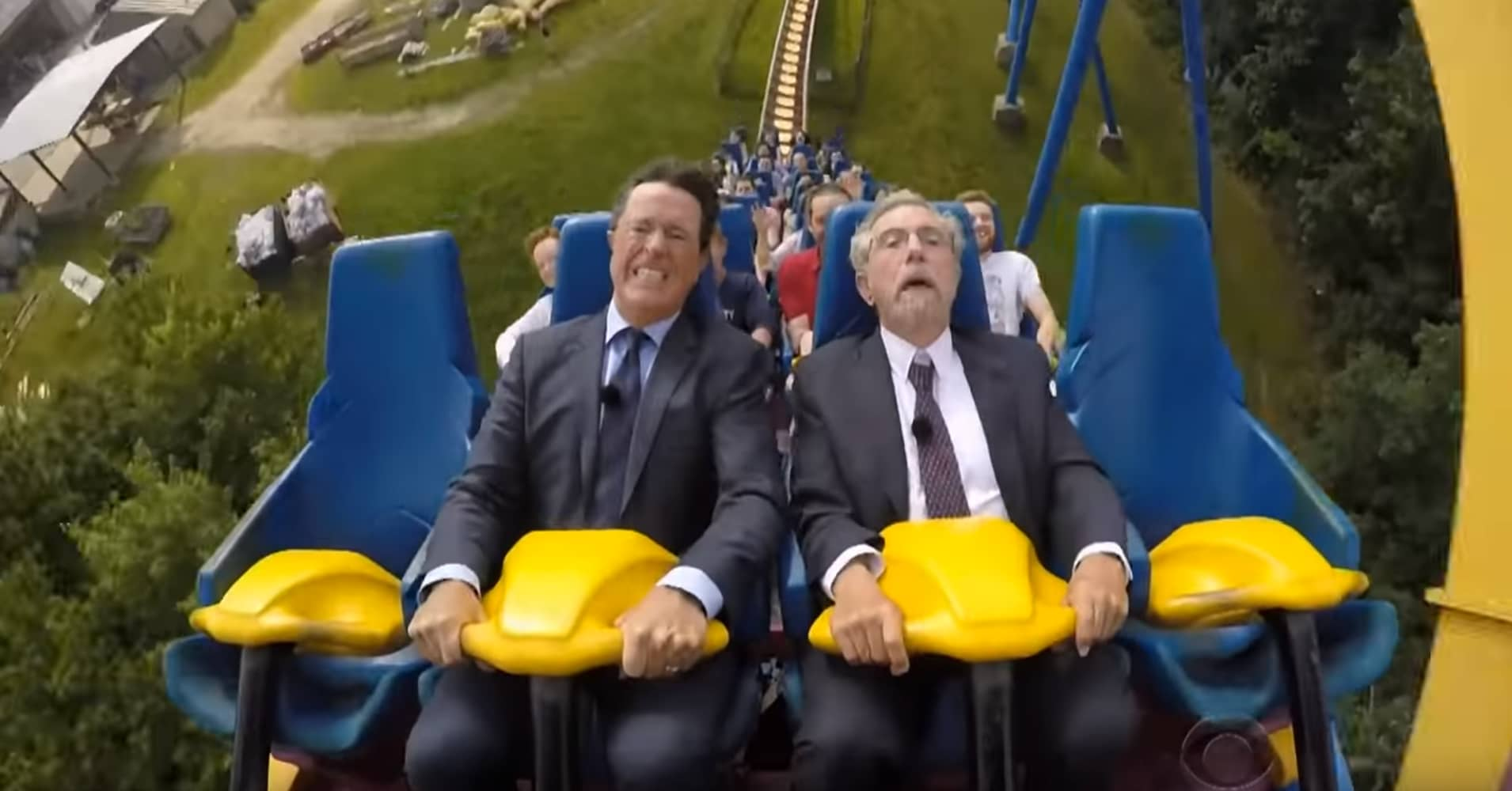 Economist Paul Krugman taught Stephen Colbert macroeconomics on a roller coaster