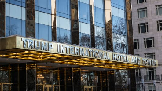 The Entrance Of Trump International Hotel And Tower In New York