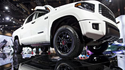 A 2019 Toyota Motor Corp. Tundra TRD Pro pickup truck sits on display during the Chicago Auto Show in Chicago.