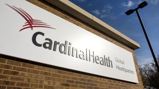 Signage is displayed outside of the Cardinal Health Inc. headquarters in Dublin, Ohio.