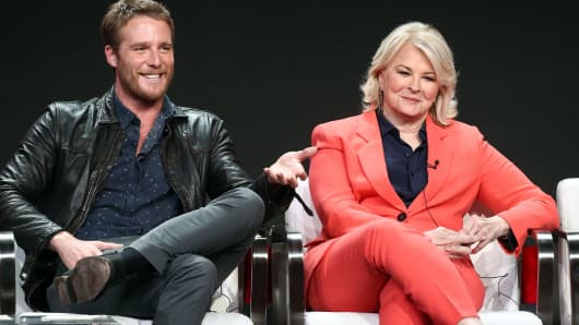 Actor Jake McDormun, and actress Candice Bergen of the television show 'Murphy Brown' speak during the CBS segment of the Summer 2018 Summer Television Critics Association Press Tour at Beverly Hilton Hotel on August 5, 2018 in Beverly Hills, California.