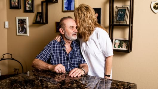 Lawrence Sedita, 74, and his wife Tracey Hilts-Sedita, at their home in Las Vegas, July 22, 2018.
