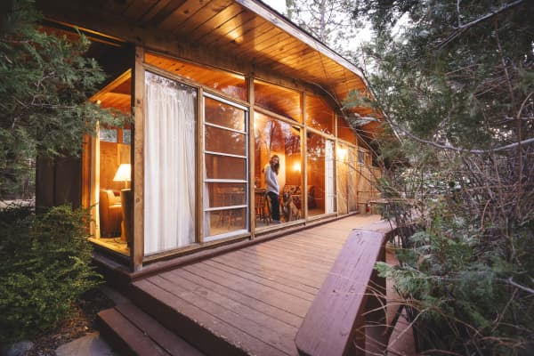 Four cabins situated in wooded Fern Valley, Calif.