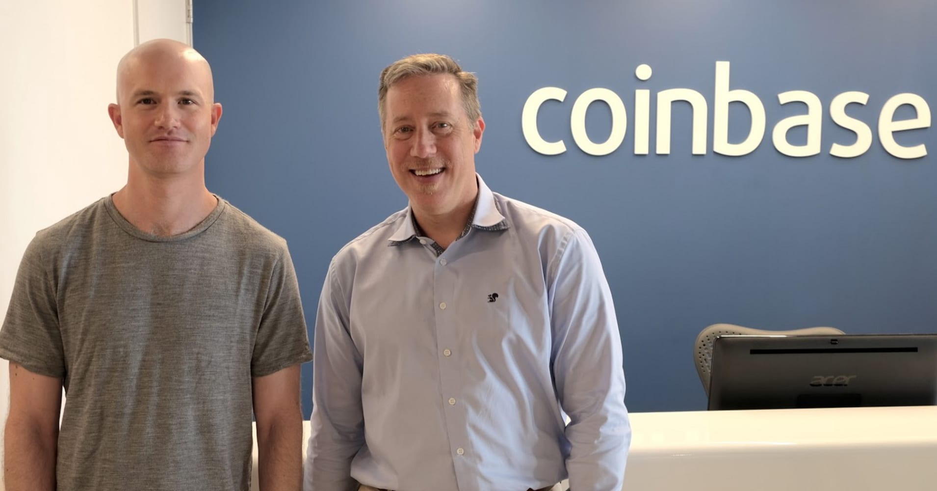 Left, Coinbase co-founder and CEO Brian Armstrong with the company's new VP of engineering Tim Wagner
