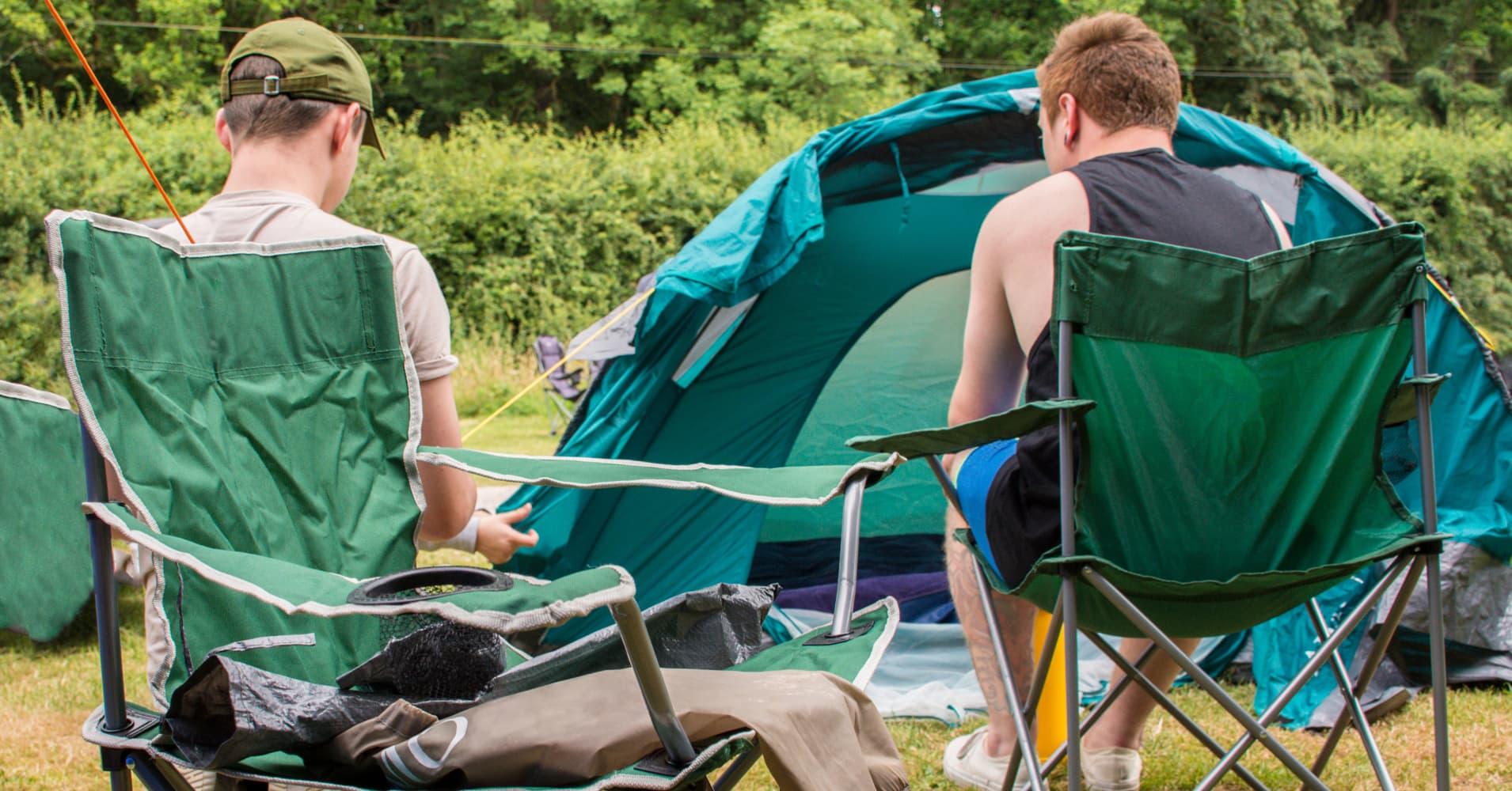 men enjoying the camping trip