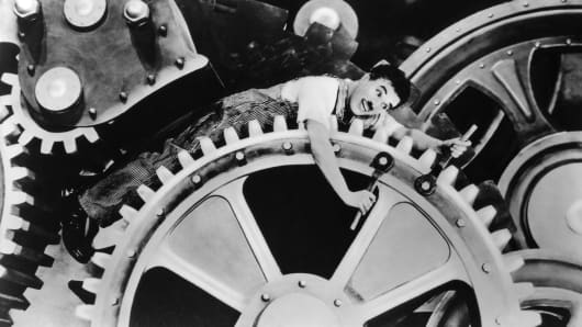 "Charlie Chaplin in the movie ""Modern Times"""