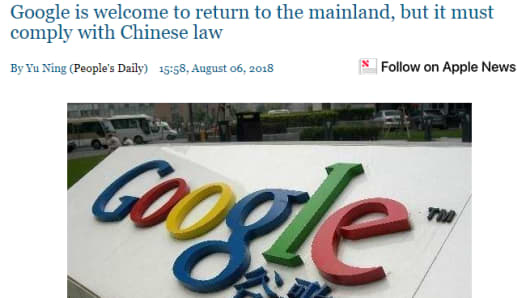 State-backed People's Daily in China wrote an opinion piece about reports regarding Google bringing back its search engine to the mainland.